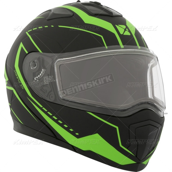 CKX Matte Black/Green Tranz 1.5 RSV Vision Modular Snow Helmet w/Electric Shield - 508745#