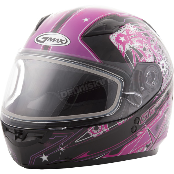 GMax Youth Pink/Purple/Black GM49Y Celestial Snowmobile Helmet w/Dual Lens Shield - G2498402 TC-14