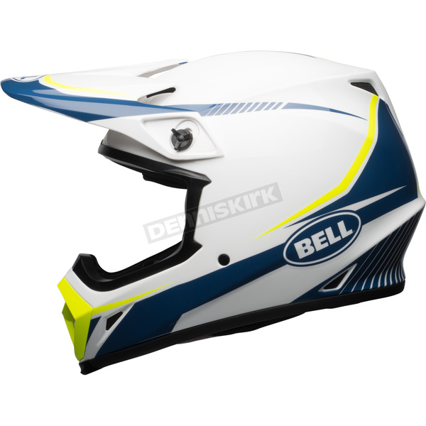 Bell Helmets White/Blue/Yellow MX-9 MIPS Torch Helmet - 7091745