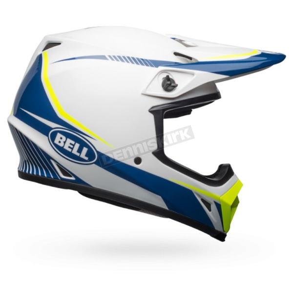 Bell Helmets White/Blue/Yellow MX-9 MIPS Torch Helmet - 7091746