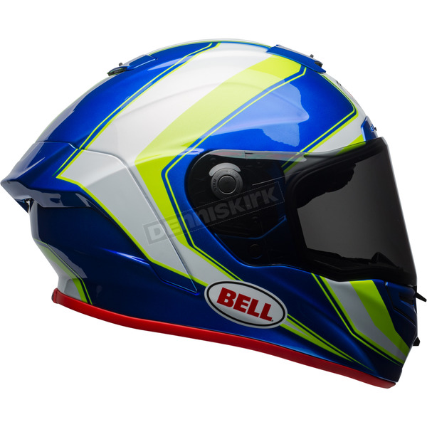 Bell Helmets White/Hi-Viz Green/Blue Race Star Sector Helmet - 7091921