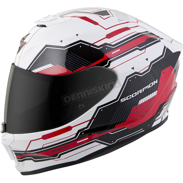 Scorpion White/Red EXO-R420 Techno Helmet - 42-1036