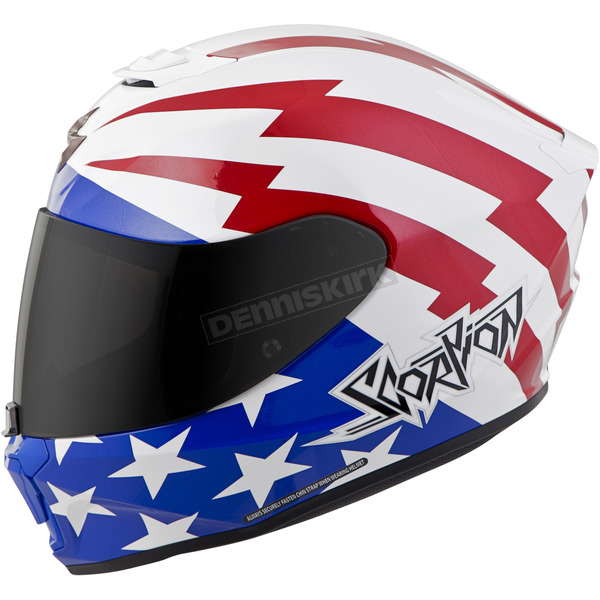 Scorpion White/Red/Blue EXO-R420 Tracker Helmet - 42-1125