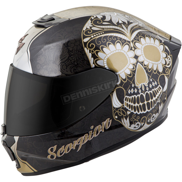 Scorpion Black/Gold EXO-R420 Sugarskull Helmet - 42-1223