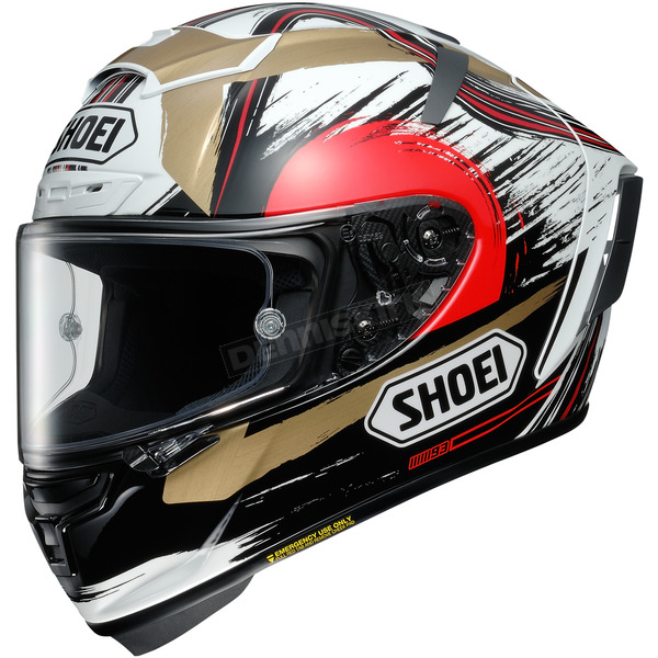 Shoei Helmets Black/Gold/White X-Fourteen Marquez Motegi 2 TC-1 Helmet - 0104-1801-08
