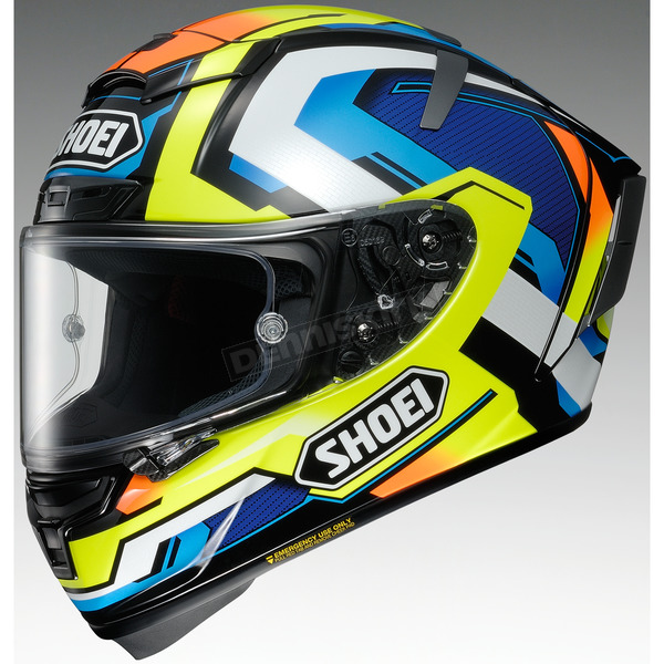 Shoei Helmets Hi-Vis/Blue X-Fourteen Brink TC-10 Helmet - 0104-1910-05
