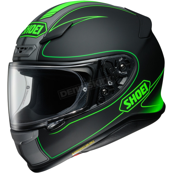 Shoei Helmets Matte Black/Green RF-1200 Flagger TC-4 Helmet - 0109-3104-06
