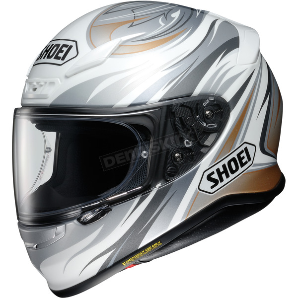 Shoei Helmets White/Gray/Gold RF-1200 Incision TC-6 Helmet - 0109-3406-07