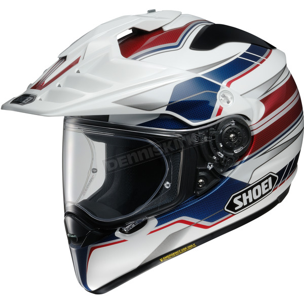 Shoei Helmets White/Red/Blue Hornet X2 Navigate TC-2 Helmet - 0124-1202-03