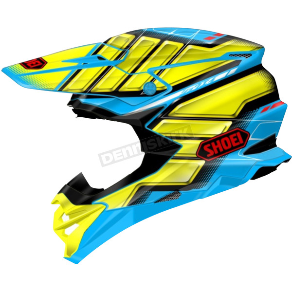 Shoei Helmets Yellow/Blue VFX-EVO Glaive TC-2 Helmet - 0146-1002-07