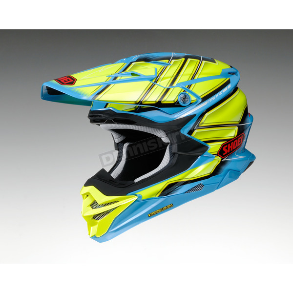 Shoei Helmets Yellow/Blue VFX-EVO Glaive TC-2 Helmet - 0146-1002-06
