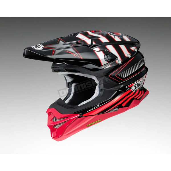 Shoei Helmets Black/Red/White VFX-EVO Grant 3 TC-1 Helmet - 0146-1301-05