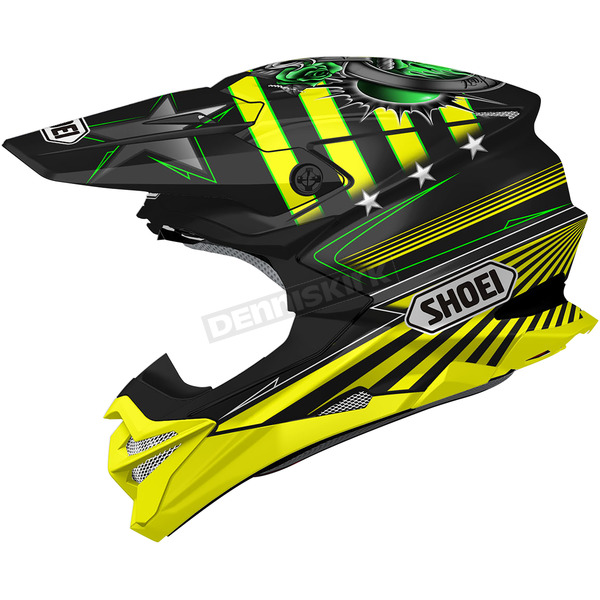 Shoei Helmets Black/Yellow/Green VFX-EVO Grant 3 TC-3 Helmet - 0146-1303-07