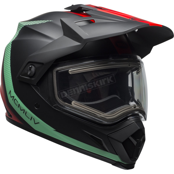 Matte Black/Blue/Red MX-9 Adventure Switchback Snow Helmet w/Electric Shield