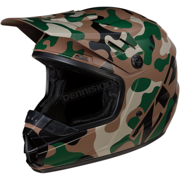 Youth Rise Woodland Camo Helmet