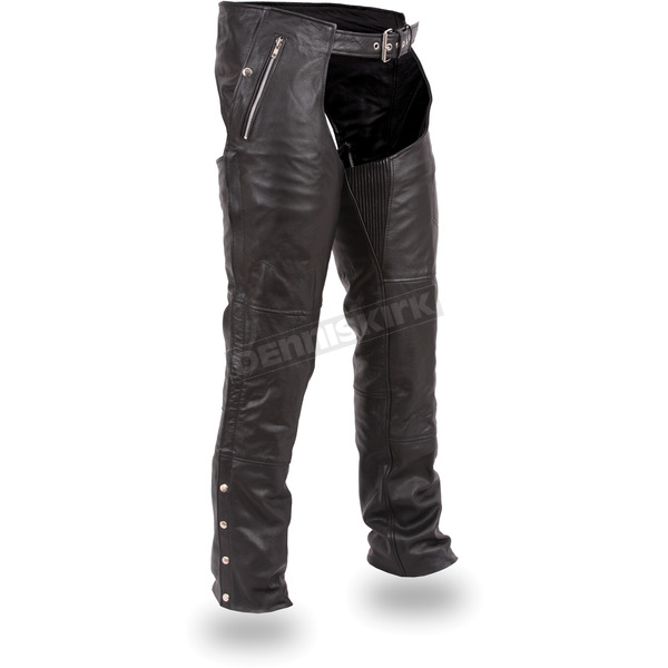 First Manufacturing Co. Black Patriot Thermal Leather Chaps - FIM-840-CSL-5X-3X