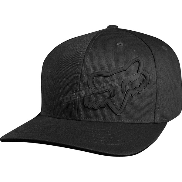 Fox Black Signature Flexfit Hat - 68073-001-L/XL