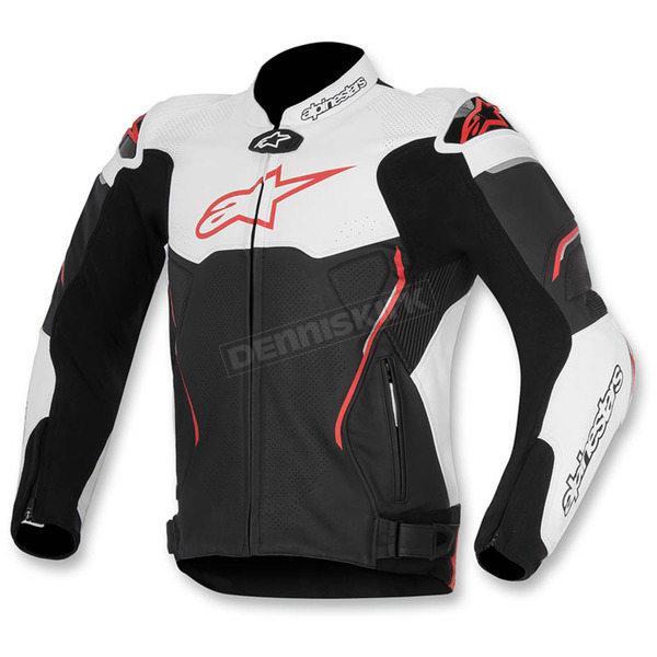 Alpinestars Black/White/Red ATEM Leather Jacket - 3106515-123-60
