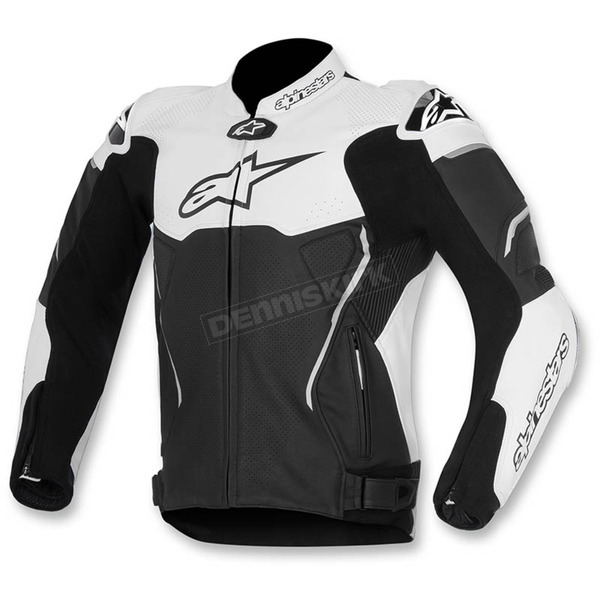 Alpinestars Black/White ATEM Leather Jacket - 3106515-12-58