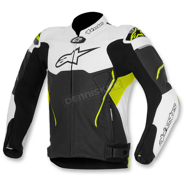 Alpinestars Black/White/Yellow ATEM Leather Jacket - 3106515-125-54