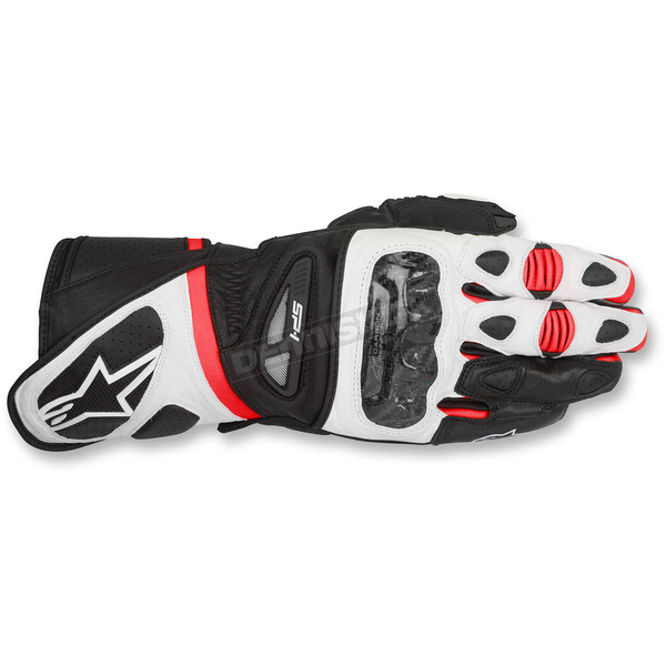 Alpinestars Black/White/Red SP-1 Leather Gloves - 3558115-123-M