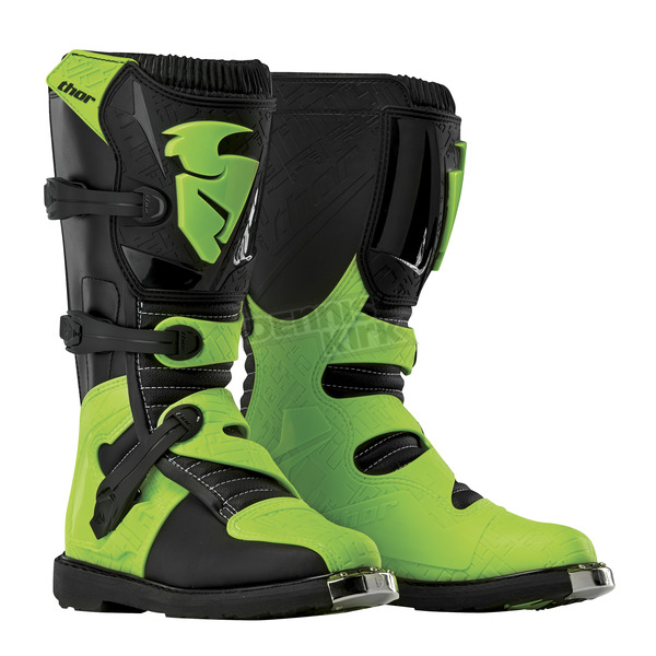 Thor Youth Black/Green Blitz Boots - 3411-0320