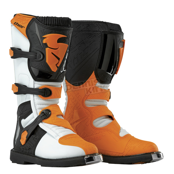 Thor Youth White/Orange Blitz Boots - 3411-0326