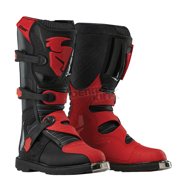 Thor Youth Black/Red Blitz Boots - 3411-0337