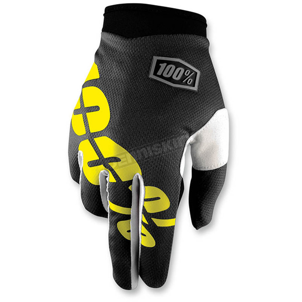 100% Black/Yellow I-Track Gloves - 10002-014-14