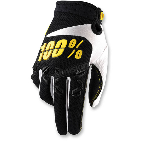 100% Black/Yellow Airmatic Gloves - 10004-014-12