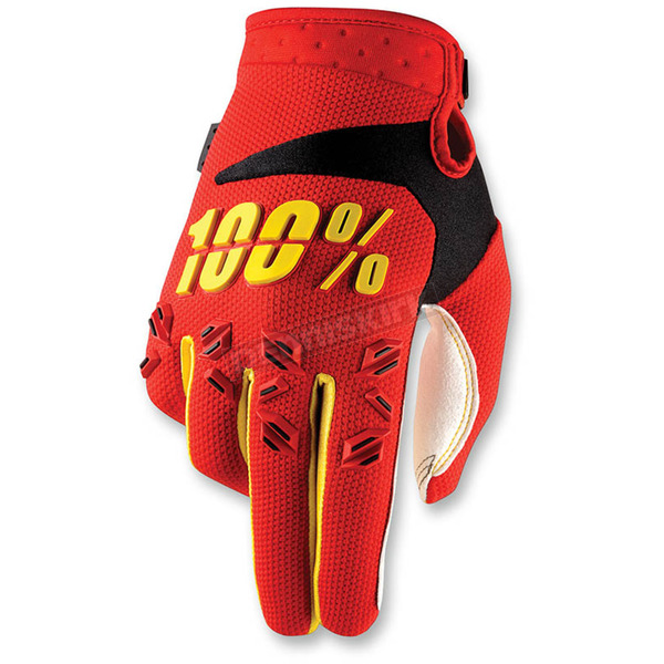100% Youth Red/Yellow Airmatic Gloves - 10004-020-04