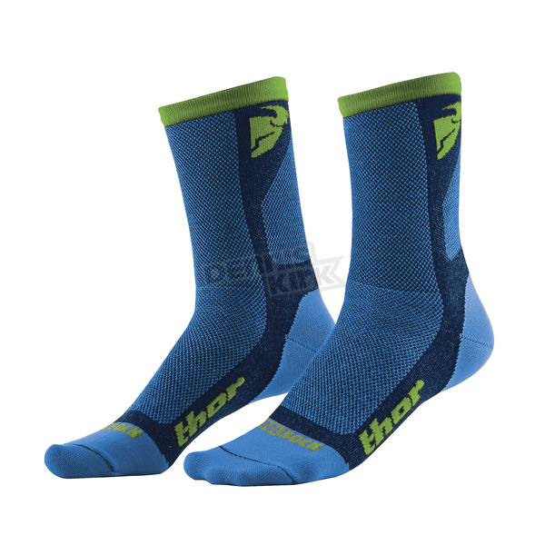 Thor Blue/Green Dual Sport Cool Socks - 3431-0279
