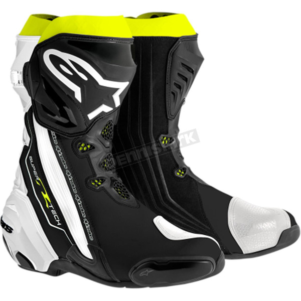 Alpinestars Black/White/Yellow Supertech R Boots - 2220015-126-41
