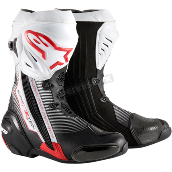 Alpinestars Black/Red/White Supertech R Boots - 2220015-1322-44