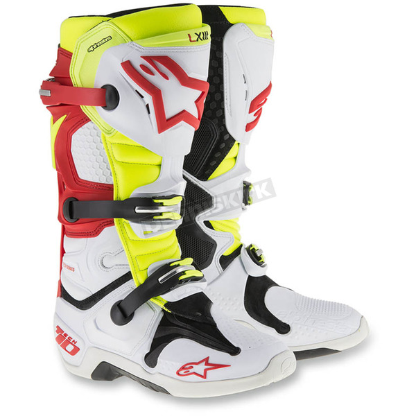 Alpinestars White/Red/Yellow Tech 10 Boots - 201001-236-10