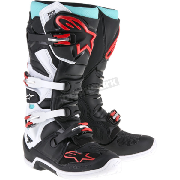 Alpinestars Cyan/Black/Red Tech 7 Boots - 2012014-1071-10