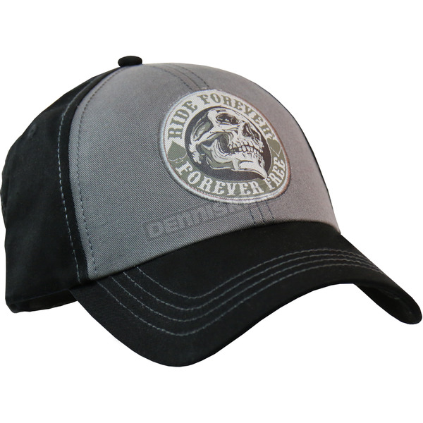 Hot Leathers Gray/Black Ride Forever Hat - BCA1056