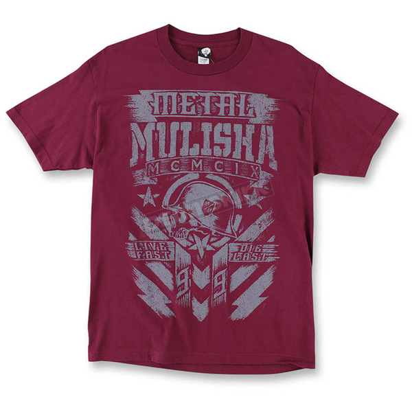 Metal Mulisha Mens Burgundy Chalk T-Shirt  - M455S18407BURXL