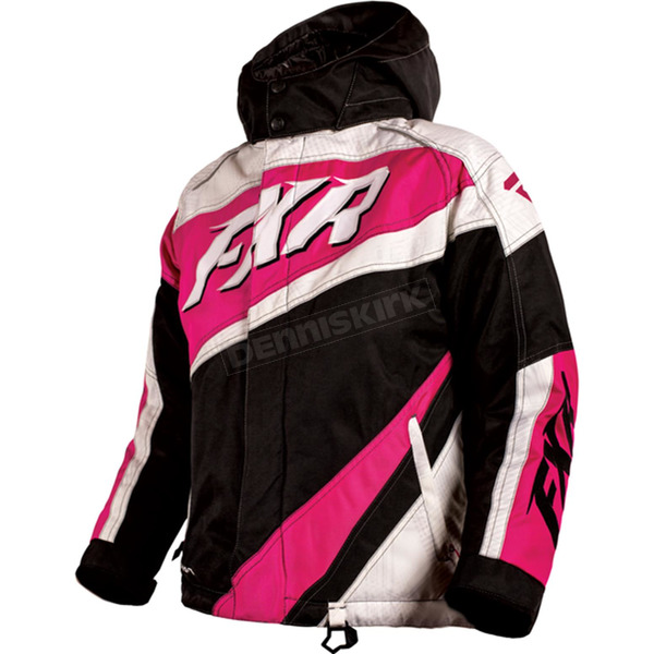 FXR Racing Child's Black/White Weave/Fuchsia Cold Cross Jacket - 16308.90108