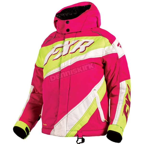 FXR Racing Youth Fuchsia/White Weave/Electric Lime Cold Cross Jacket - 16309.97014