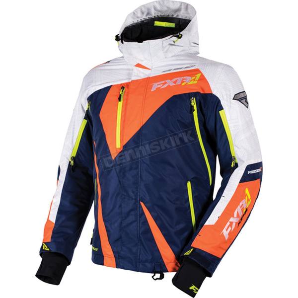 FXR Racing Navy/White Weave/Orange/Hi-Vis Mission X Jacket - 16005.40307