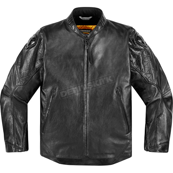 Icon 1000 Black Leather Retrograde Jacket - 2810-2821
