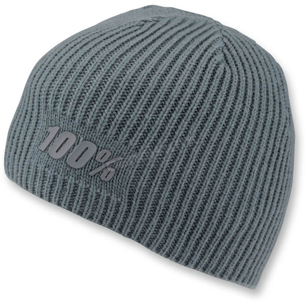 100% Heather Gray Raw Beanie - 20111-007-01