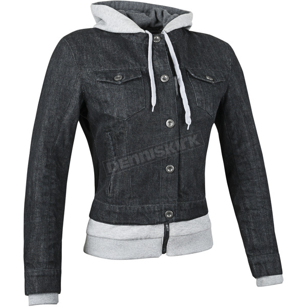 Speed and Strength Womens Black Fast Times Denim Hoody Jacket - 87-1170