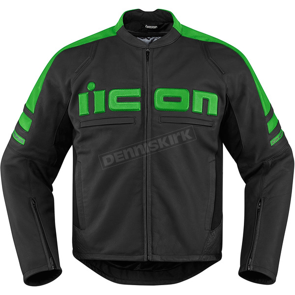 Icon Black/Green Motorhead 2 Leather Jacket - 2810-2845