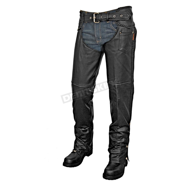 Interstate Leather Black Sergeant Chaps - I8002M