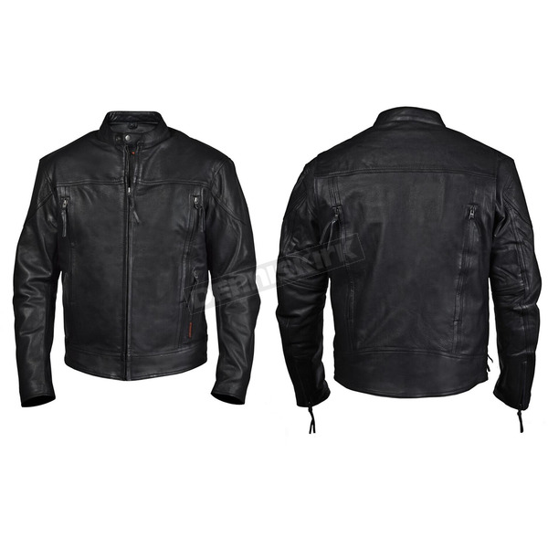 Interstate Leather Black Beretta Leather Jacket - I5089XL