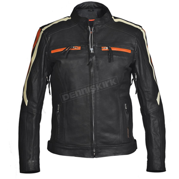 Interstate Leather Women's Black/Orange Blade Leather Jacket - I5144L