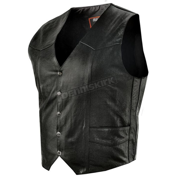 Interstate Leather Black Bishop Vest - I1301XL