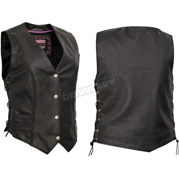 Interstate Leather Women's Black Raven Vest - I1380XL